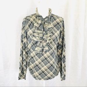 LRL Lauren Jeans Co Plaid Ruffle Blouse L